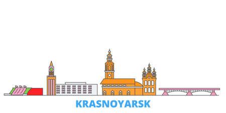 Russia, Krasnoyarsk cityscape line vector. Travel flat city landmark, oultine illustration, line world icons Иллюстрация