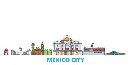 Mexico, Mexico cityscape line vector. Travel flat city landmark, oultine illustration, line world icons Ilustración de vector