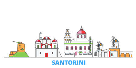 Greece, Santorini cityscape line vector. Travel flat city landmark, oultine illustration, line world icons