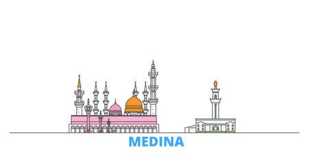 Saudi Arabia, Medina cityscape line vector. Travel flat city landmark, oultine illustration, line world icons Vetores