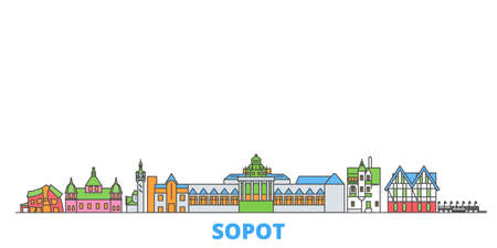 Poland, Sopot cityscape line vector. Travel flat city landmark, oultine illustration, line world icons