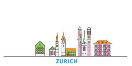Switzerland, Zurich cityscape line vector. Travel flat city landmark, oultine illustration, line world icons