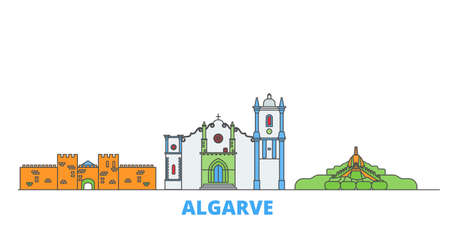 Portugal, Algarve cityscape line vector. Travel flat city landmark, oultine illustration, line world icons