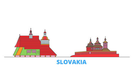 Slovakia, Wooden Churches In The Carpathian Mountain Area cityscape line vector. Travel flat city landmark, oultine illustration, line world icons Imagens - 159222740