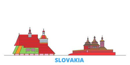 Slovakia, Wooden Churches In The Carpathian Mountain Area cityscape line vector. Travel flat city landmark, oultine illustration, line world icons Ilustração