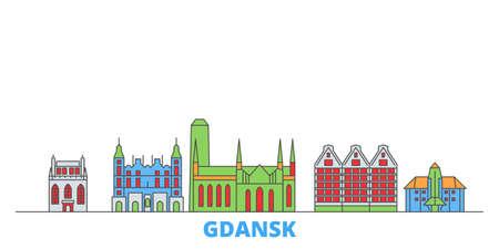 Poland, Gdansk cityscape line vector. Travel flat city landmark, oultine illustration, line world icons Ilustração