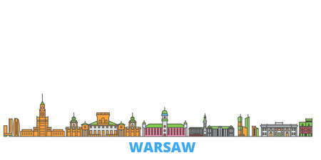 Poland, Warsaw cityscape line vector. Travel flat city landmark, oultine illustration, line world icons