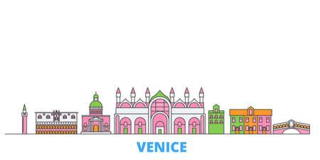 Italy, Venice cityscape line vector. Travel flat city landmark, oultine illustration, line world icons