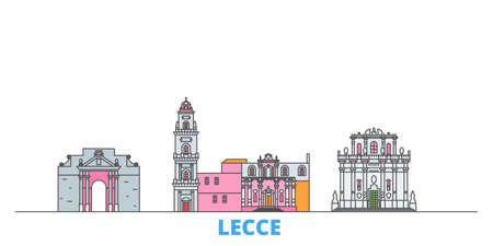 Italy, Lecce cityscape line vector. Travel flat city landmark, oultine illustration, line world icons 矢量图像