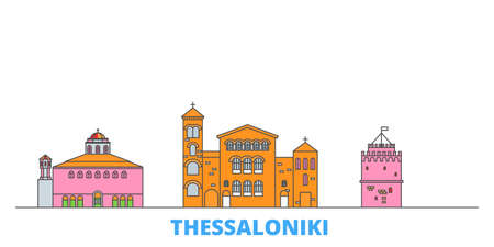 Greece, Thessaloniki cityscape line vector. Travel flat city landmark, oultine illustration, line world icons