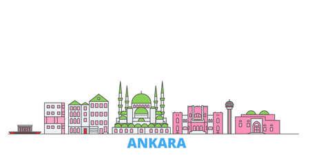 Turkey, Ankara cityscape line vector. Travel flat city landmark, oultine illustration, line world icons