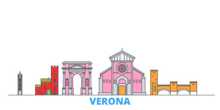 Italy, Verona City cityscape line vector. Travel flat city landmark, oultine illustration, line world icons