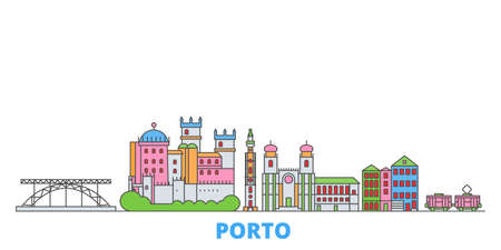 Portugal, Porto cityscape line vector. Travel flat city landmark, oultine illustration, line world icons