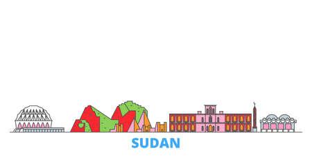 Sudan cityscape line vector. Travel flat city landmark, oultine illustration, line world icons
