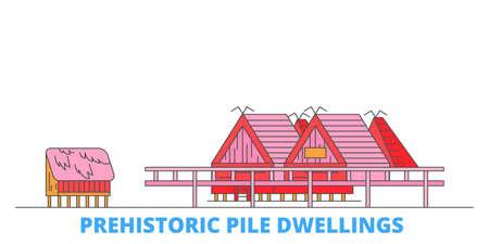 Italy, Prehistoric Pile Dwellings cityscape line vector. Travel flat city landmark, oultine illustration, line world icons