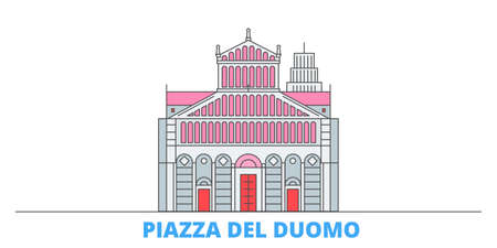 Italy, Pisa, Piazza Del Duomo cityscape line vector. Travel flat city landmark, oultine illustration, line world icons