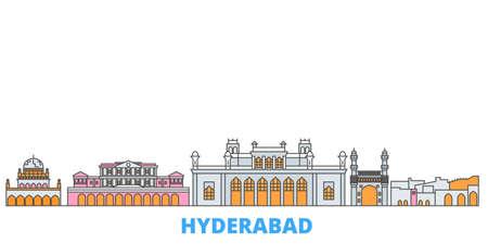 India, Hyderabad cityscape line vector. Travel flat city landmark, oultine illustration, line world icons Vetores