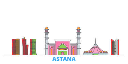 Kazakhstan, Astana cityscape line vector. Travel flat city landmark, oultine illustration, line world icons