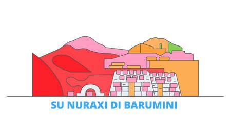 Italy, Barumini, Su Nuraxi Di Barumini cityscape line vector. Travel flat city landmark, oultine illustration, line world icons Illusztráció