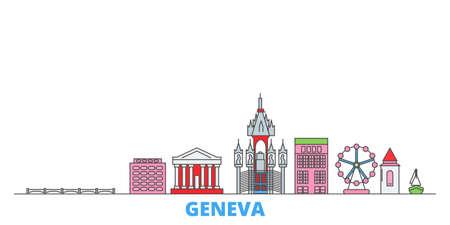 Switzerland, Geneva cityscape line vector. Travel flat city landmark, oultine illustration, line world icons