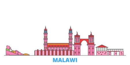 Malawi cityscape line vector. Travel flat city landmark, oultine illustration, line world icons Vektorové ilustrace
