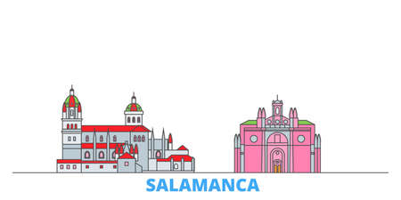 Spain, Salamanca cityscape line vector. Travel flat city landmark, oultine illustration, line world icons