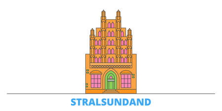 Germany, Stralsundand cityscape line vector. Travel flat city landmark, oultine illustration, line world icons