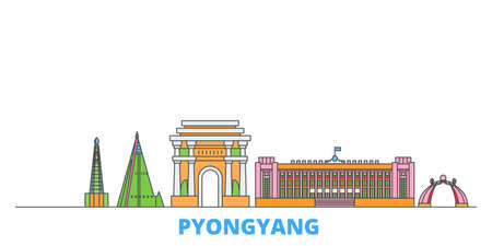 North Korea, Pyongyang cityscape line vector. Travel flat city landmark, oultine illustration, line world icons
