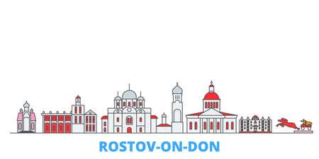 Russia, Rostov On Don cityscape line vector. Travel flat city landmark, oultine illustration, line world icons