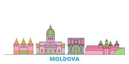 Moldova cityscape line vector. Travel flat city landmark, oultine illustration, line world icons