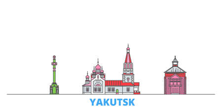 Russia, Yakutsk cityscape line vector. Travel flat city landmark, oultine illustration, line world icons