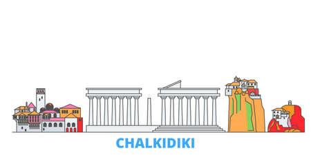 Greece, Chalkidiki cityscape line vector. Travel flat city landmark, oultine illustration, line world icons