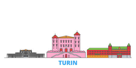 Italy, Turin, Residences Of The Royal House Of Savoy cityscape line vector. Travel flat city landmark, oultine illustration, line world icons
