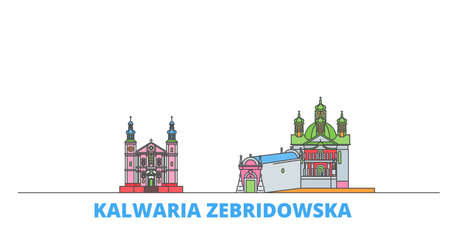 Poland, Kalwaria Zebrzydowska cityscape line vector. Travel flat city landmark, oultine illustration, line world icons