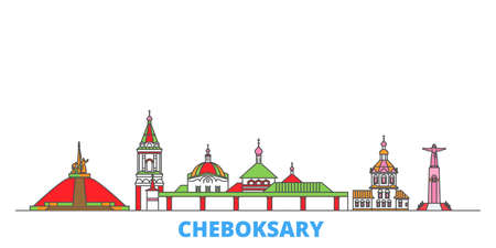 Russia, Cheboksary cityscape line vector. Travel flat city landmark, oultine illustration, line world icons 矢量图像