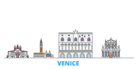 Italy, Venice Landmark cityscape line vector. Travel flat city landmark, oultine illustration, line world icons