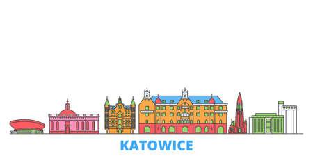 Poland, Katowice cityscape line vector. Travel flat city landmark, oultine illustration, line world icons