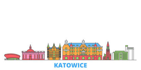 Poland, Katowice cityscape line vector. Travel flat city landmark, oultine illustration, line world icons