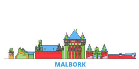 Poland, Malbork cityscape line vector. Travel flat city landmark, oultine illustration, line world icons Illusztráció