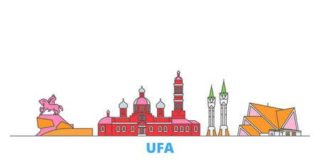Russia, Ufa cityscape line vector. Travel flat city landmark, oultine illustration, line world icons