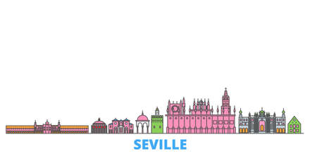 Spain, Seville cityscape line vector. Travel flat city landmark, oultine illustration, line world icons