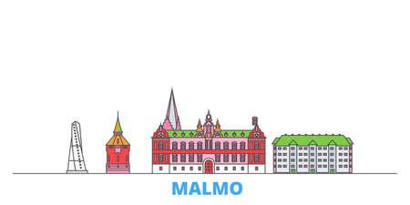Sweden, Malmo cityscape line vector. Travel flat city landmark, oultine illustration, line world icons Vettoriali
