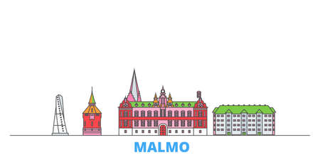 Sweden, Malmo cityscape line vector. Travel flat city landmark, oultine illustration, line world icons Векторная Иллюстрация