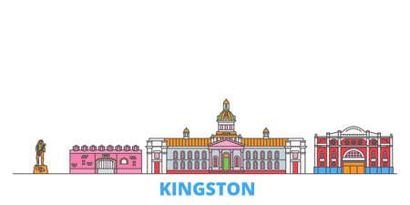 Jamaica, Kingston cityscape line vector. Travel flat city landmark, oultine illustration, line world icons