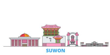South Korea, Suwon cityscape line vector. Travel flat city landmark, oultine illustration, line world icons 일러스트