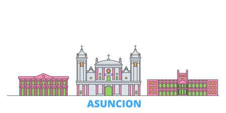 Paraguay, Asuncion cityscape line vector. Travel flat city landmark, oultine illustration, line world icons