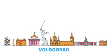Russia, Volgograd cityscape line vector. Travel flat city landmark, oultine illustration, line world icons