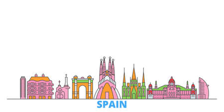 Spain, Barcelona cityscape line vector. Travel flat city landmark, oultine illustration, line world icons