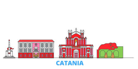Italy, Catania cityscape line vector. Travel flat city landmark, oultine illustration, line world icons 矢量图像