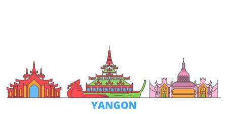 Myanmar, Yangon cityscape line vector. Travel flat city landmark, oultine illustration, line world icons